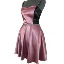 Rochie de seara din satin magenta cu negru Alize