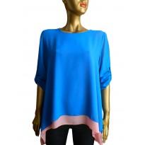 Bluza asimetrica din voal de culoare albastru cu roz