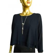 Bluza asimetrica din voal de culoare neagra