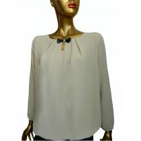 Bluza casual, din material lejer de culoare bej
