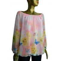 Bluza cu print floral multicolor trandafiri si fluturi