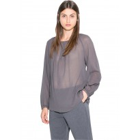 Bluza Dama casual din bumbac, de culoare gri inchis