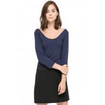 Bluza dama, din bumbac, de culoare bleumarin închis