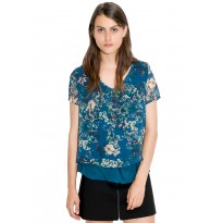 Bluza Dama din şifon, de culoare turcoaz-inchis, cu imprimeu floral