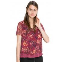 Bluza Dama din şifon, de culoare visinie, cu imprimeu floral