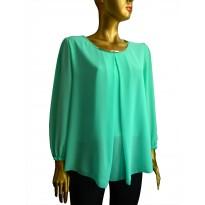 Bluza din voal casual de culoare verde