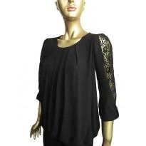 Bluza eleganta neagra din voal cu insertie dantela si pliuri