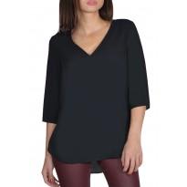 Bluza dama asimetrica din voal, de culoare neagra