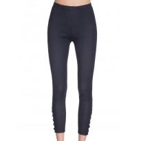 Colanti tip jeans,  culoare neagra, cu aplicatii de nasturi in partea de jos, pe picior