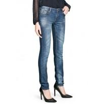 Jeans dama slim-fit cu talie normala de culoare bleumarin