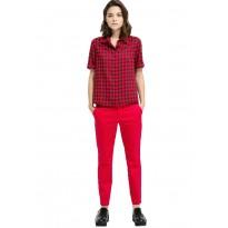 Pantaloni dama, slim, din bumbac, de culoare rosie