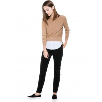 Pantaloni dama slim fit din raiat, de culoare neagra