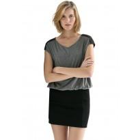 Rochie casual, bicolora, gri cu negru