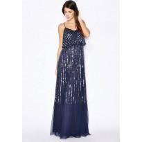 Rochie de seara, din tul bleumarin, paiete si margelute stralucitoare