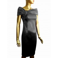 Rochie de seara eleganta din satin, de culoare neagra cu guler tip sal