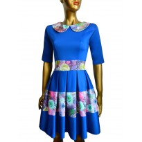Rochie eleganta,de culoare albastra cu imprimeuri florale Thessala