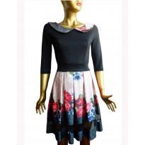 Rochie eleganta de culoare neagra, cu imprimeu floral
