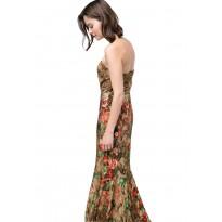 Rochie eleganta lunga, cu imprimeu de crocodil si motive florale