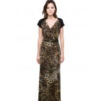 Rochie lunga cu imprimeu leopard si dantela