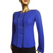 Sacou dama, elegant, din tricot cambrat albastru